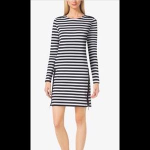 Michael Kors Zip Detail Stripe Dress